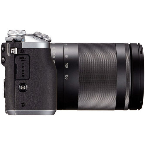 EOS M6 Kit w/EF-M 18-150mm f/3.5-6.3 IS STM Silver ,EF-M 28mm f/3.5 Macro IS STM Lens, EVF And Strap