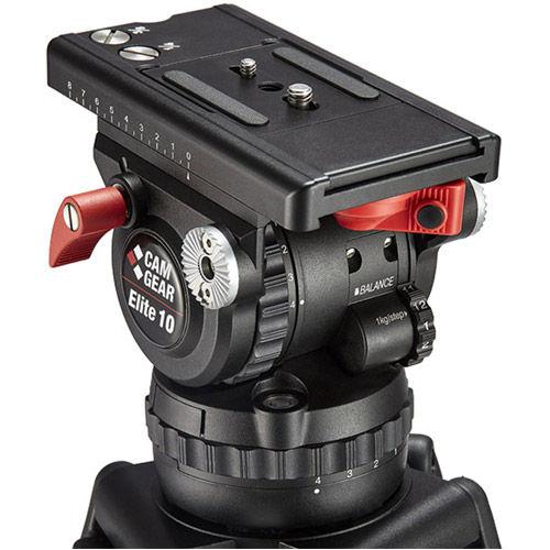 Elite 10 CFMLGS Video Tripod Kit w/ Elite 10 Cast Aluminum 100mm Fluid Head,  Aluminium Tripod
