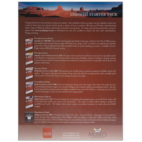 """Moab 8.5""""x11"""" 15pc Sample Paper Pack"""