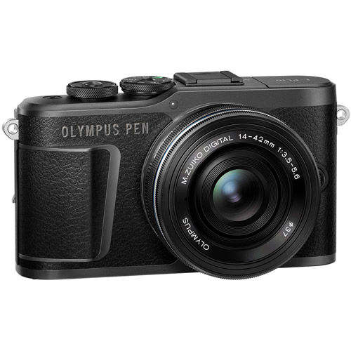 PEN E-PL10 Mirrorless Kit Black w/ 14-42mm EZ Lens (inc. Bag, 16GB Class 10 SD Card, Lens Cloth)