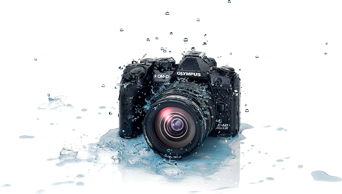 Product image of camera in puddle, demonstrating its superior weather sealing
