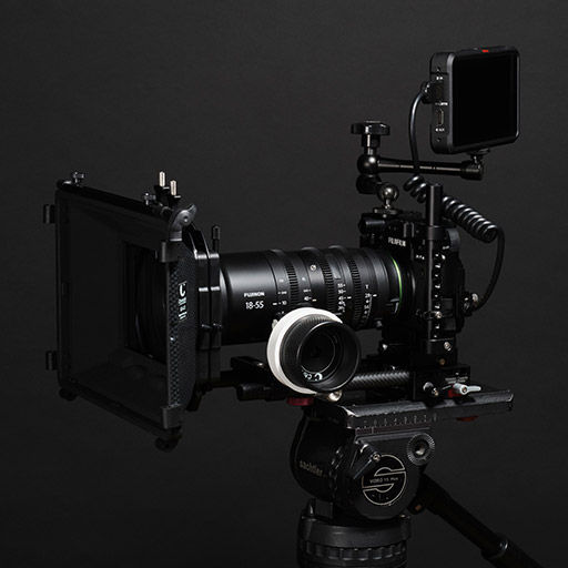 product image of camera with cinema lens and accessories