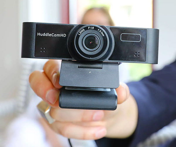 Close-up holding webcam