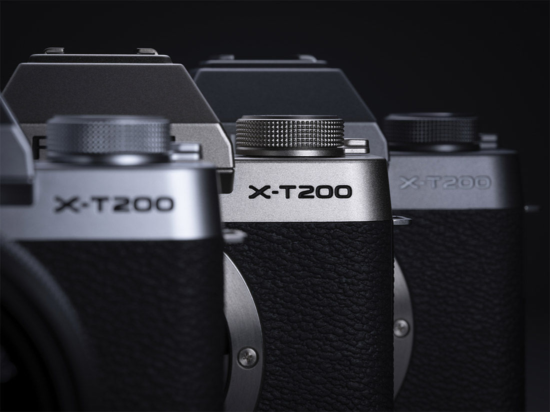 Closeup product image of X-T200 text on cameras